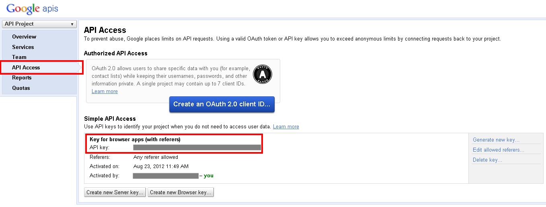 API Key für die Authentifizierung erhalten