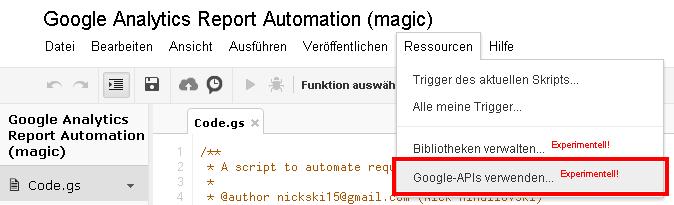 API Verwendung in Google Docs einrichten