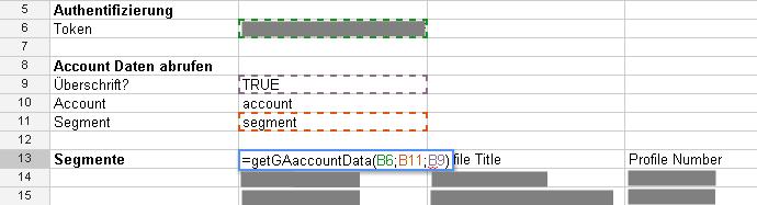 Abruf der Google Analytics Segment Daten mit Google Docs
