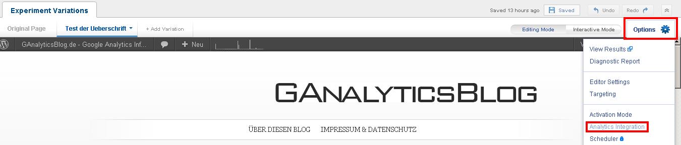Auswahl der Google Analytics Integration innerhalb von Optimizely