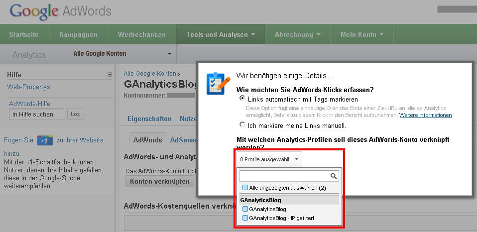 Auswahl der Google Analytics Profile für die AdWords Verknüpfung