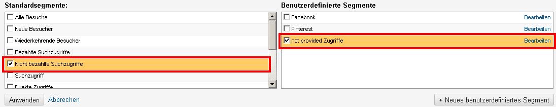 Auswahl der Segmente not provided und nicht bezahlte Suchzugriffe in Google Analytics