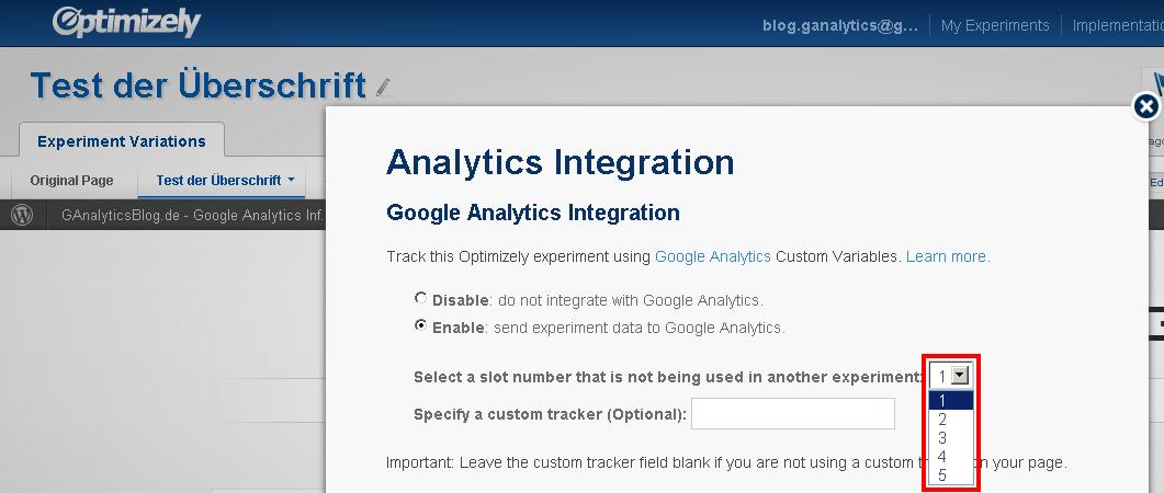 Auswahl des Slots für die Analytics Integration von Optimizely