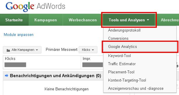 Auswahl von Google Analytics innerhalb von Google AdWords