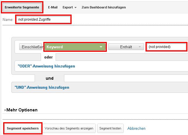 Benutzerdefiniertes Segment für die (not provided) Zugriffe erstellen