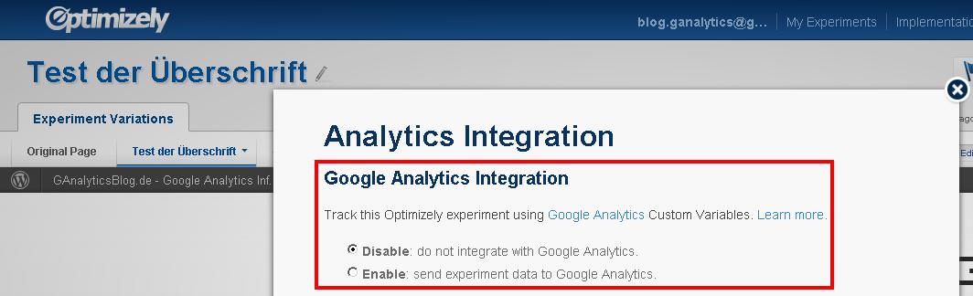 Einrichtung der Google Analytics Integration innerhalb von Optimizely