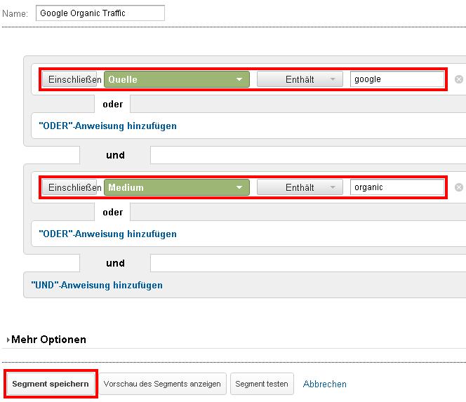 Erstellung des nur Google organic Traffic Segments