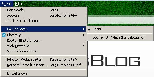 Firefox GA Debugger aktivieren