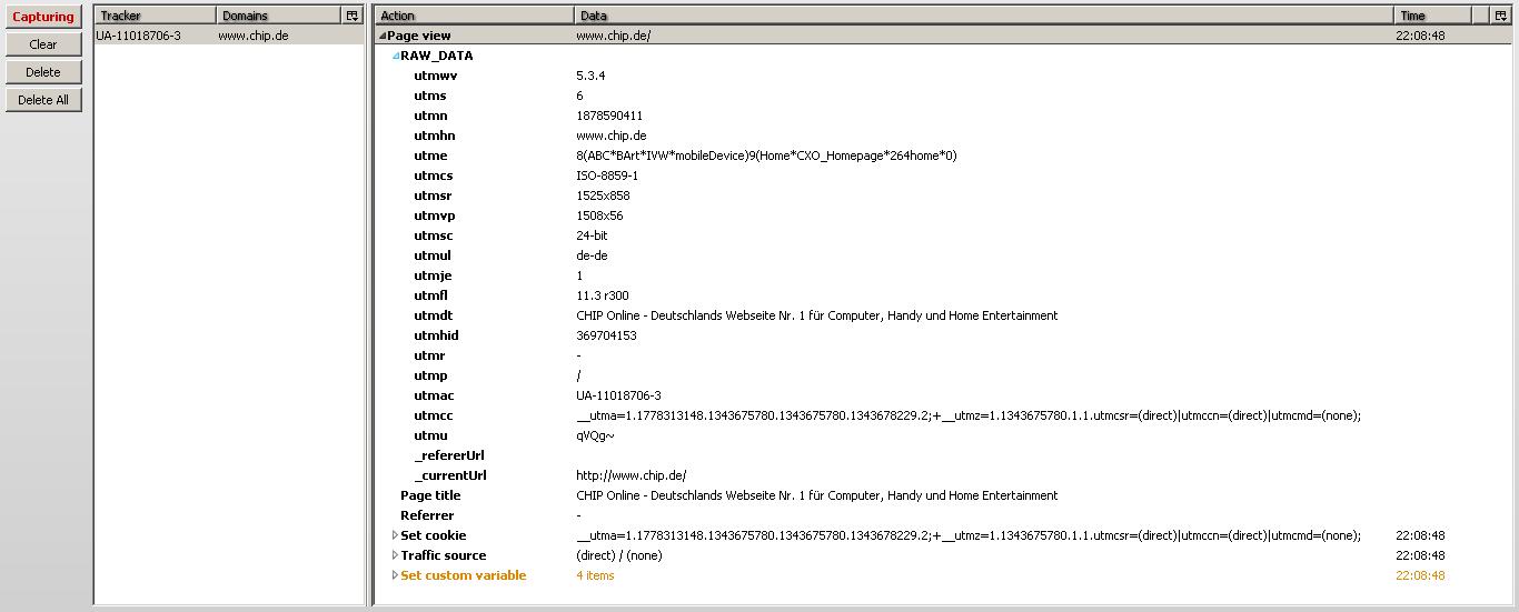 GA Debugger mit raw Daten