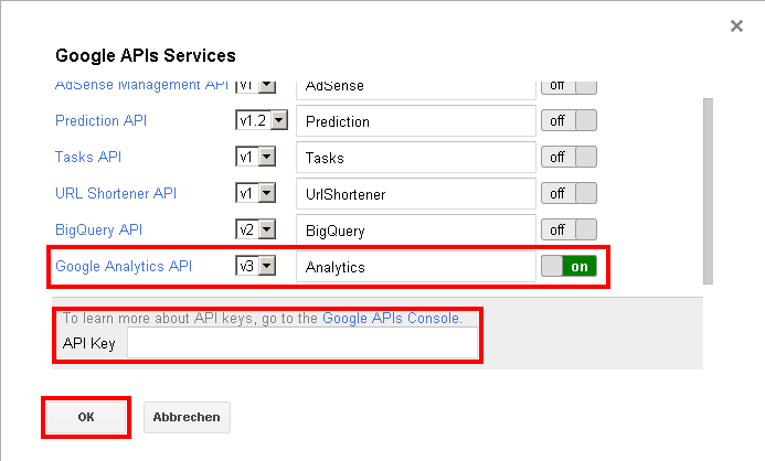 Google Analytics API Key eintragen