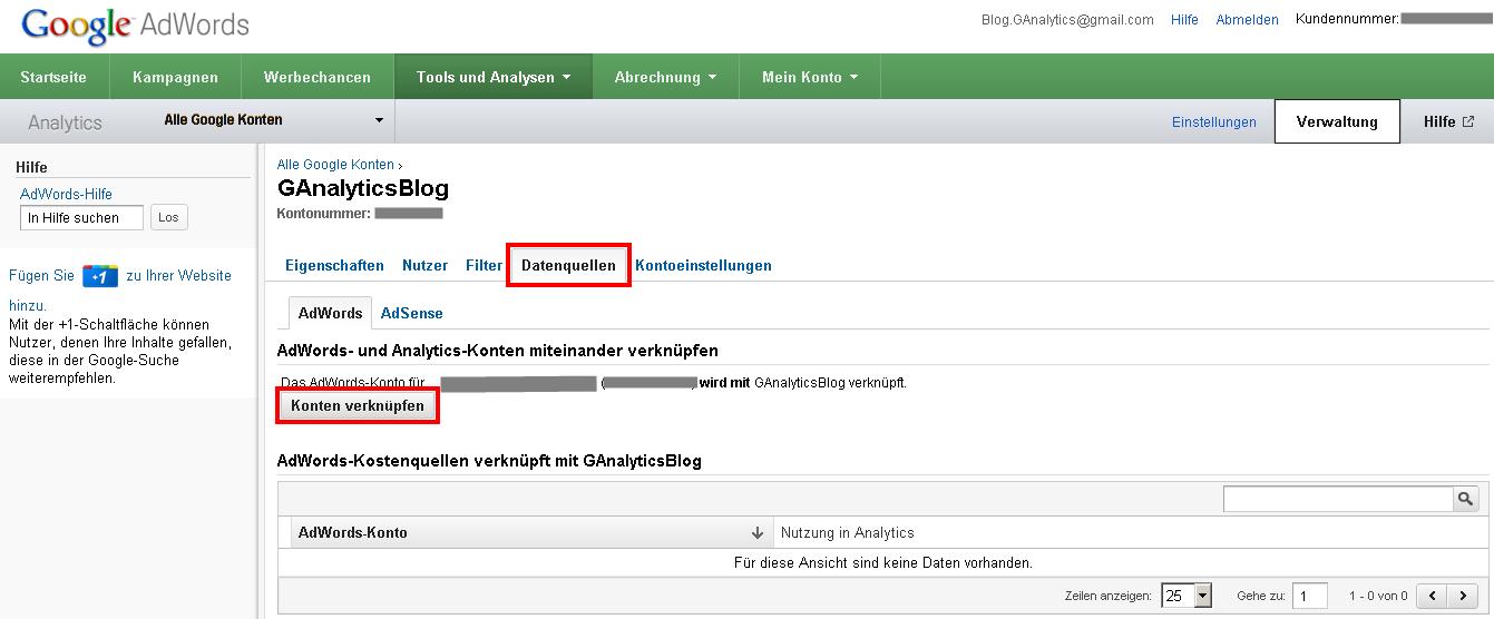 Google Analytics Kontenverknüpfung unter dem Reiter Datenquellen in Google AdWords