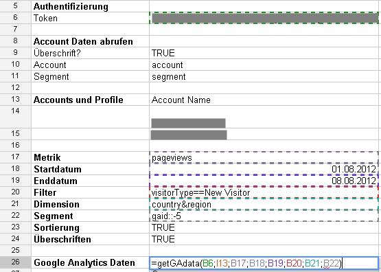 Komplexere Abfrage der Google Analytics Daten mit Google Docs