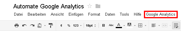 Neuer Menüpunkt Google Analytics in Google Docs