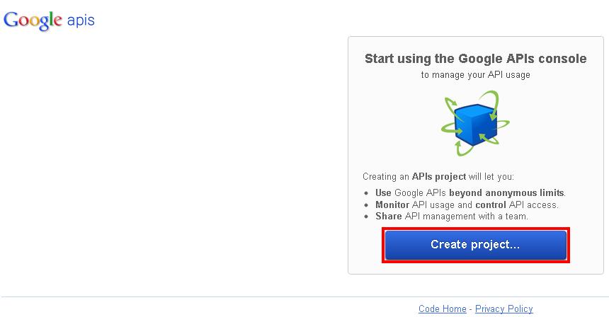 Neues Projekt für den Google Analytics API Zugriff erstellen