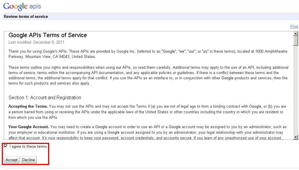 Nutzungsbedingungen bei der Google Analytics API bestätigen