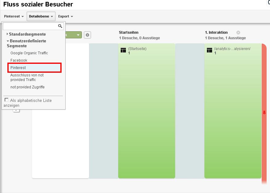 Besucherfluss des Pinterest Traffics mit einem Benutzerdefinierten Segment analysieren