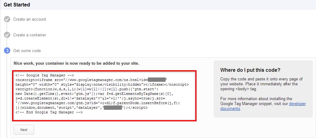 Container Code für die Einrichtung auf der Website
