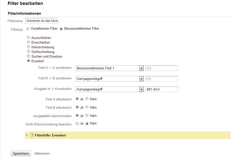 Filter für das ranschreiben der extrahierten Information an das Keyword