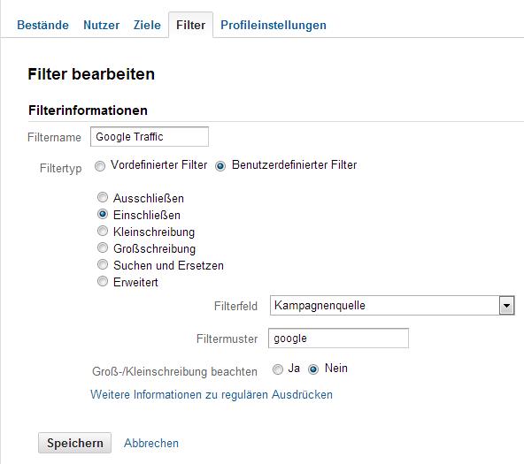 Filter für die Google Zugriffe