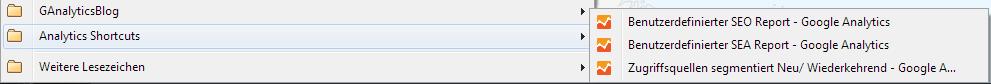 Gespeicherte Shortcuts als Lesezeichen