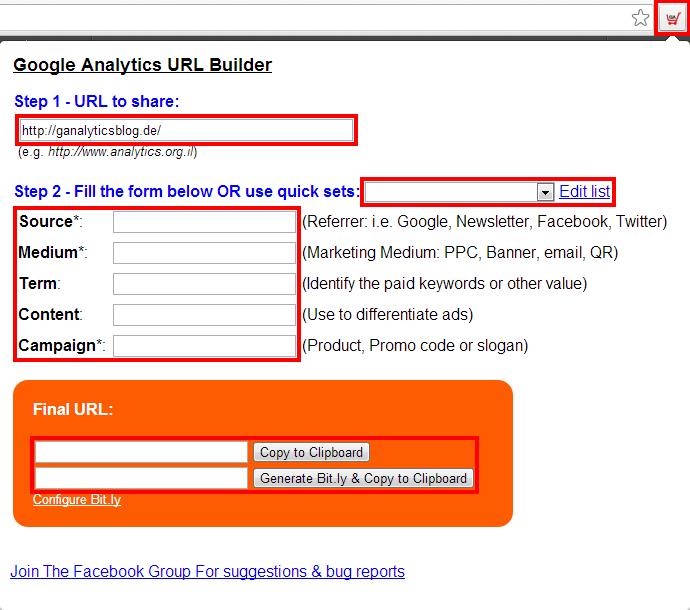 Menü der Browser Erweiterung Google Analytics URL Builder