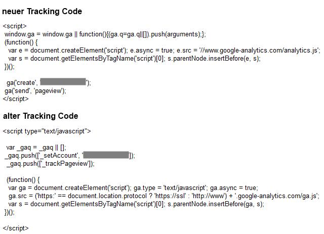 Der neue und alte Tracking Code im Vergleich