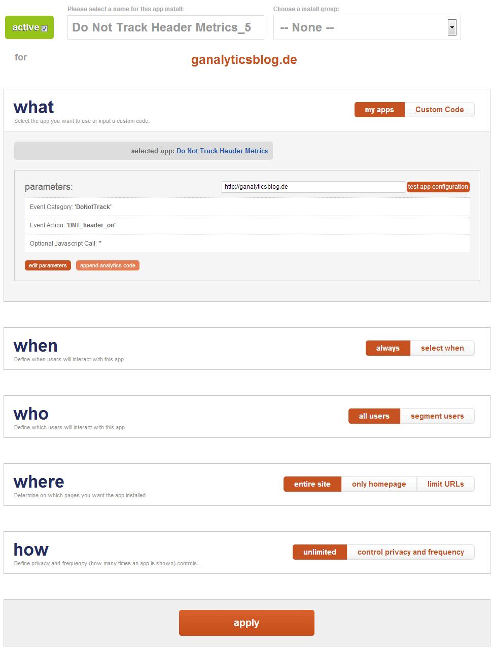 Detail Einstellungen für die SiteApp