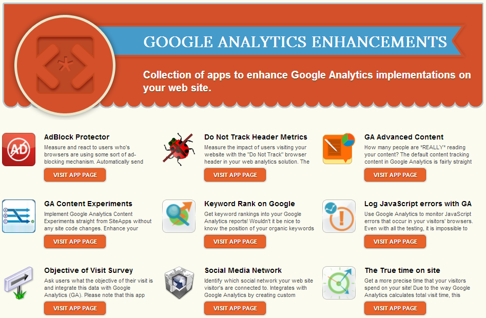 Die Google Analytics Enhancements App Collection