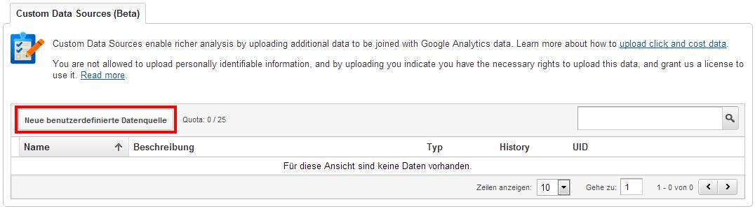 Einfügen einer neuen Benutzerdefinierten Datenquelle