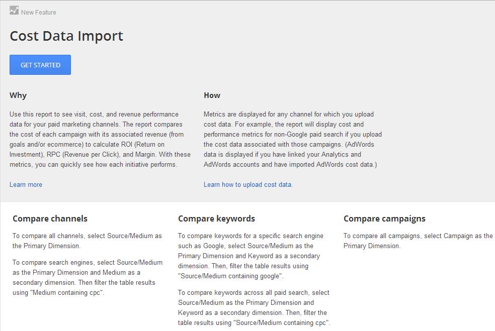 Hinweis Seite für den neu gelaunchten Kostendaten Import