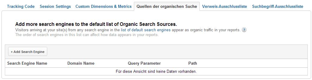 Hinzufügen von weiteren Suchmaschinen zu Google Analytics