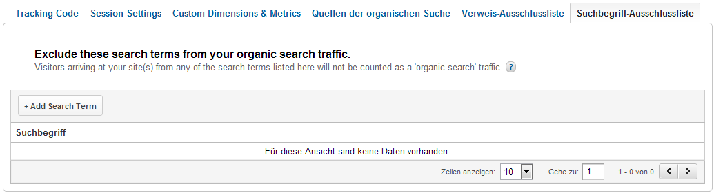 Keywords dem Direkten Traffic zuordnen