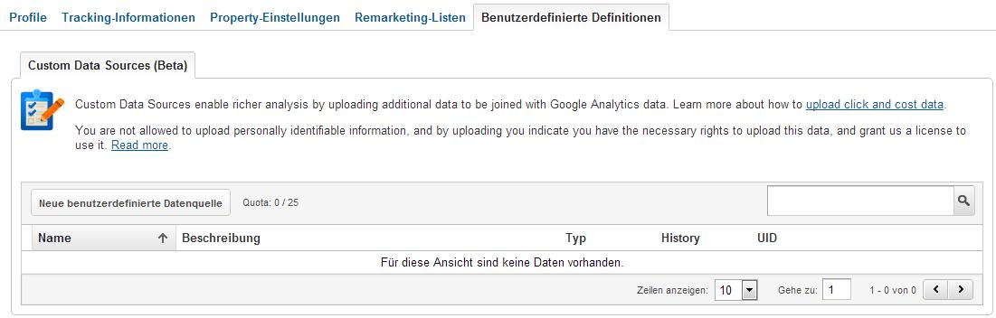 Kostendaten Import unterterhalb der Google Analytics Verwaltung