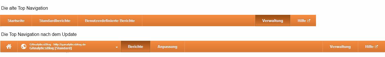 Vergleich der Google Analytics Top Navi vor und nach dem Update