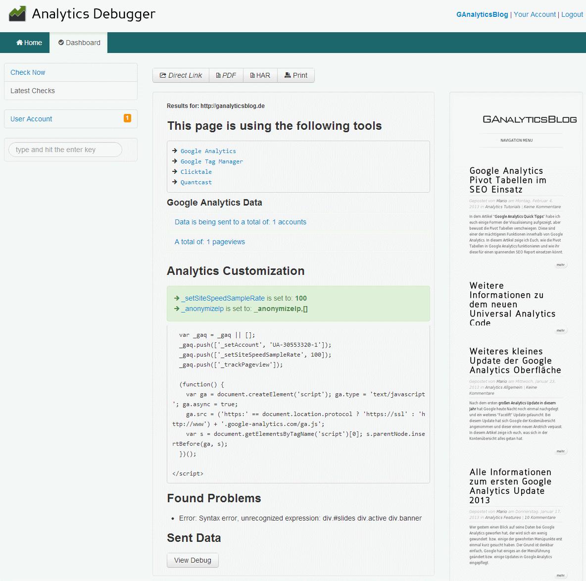 Beispielhafter Bericht des Analytics Debugger