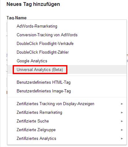 Der neue Universal Analytics Code mit dem Google Tag Manager