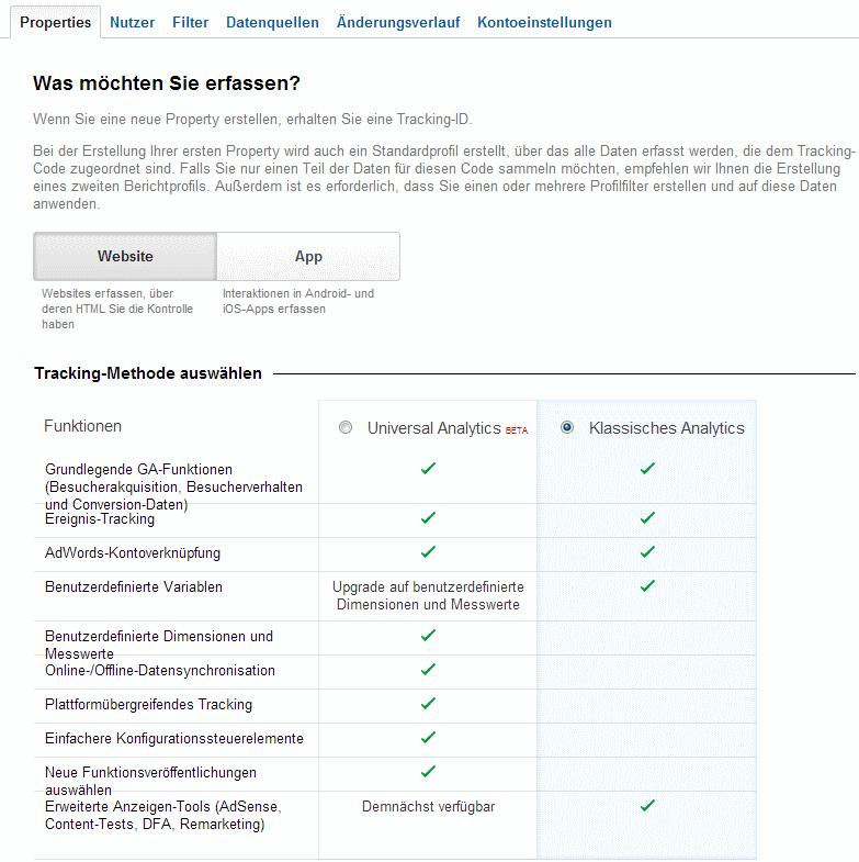 Die neue Auswahlmöglichkeit beim Einrichten einer neuen Web Property