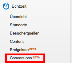 Der Realtime Conversion Report im Menü