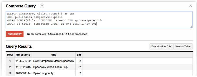 Eine Beispiel Abfrage in Google BigQuery