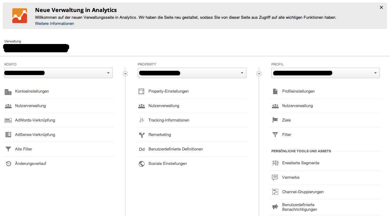 Überblick der Neuen Google Analytics Verwaltung
