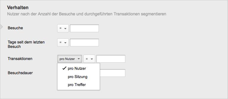 Die neue Auswahl der Segmentierung nach Nutzern, Besuchen oder Hits