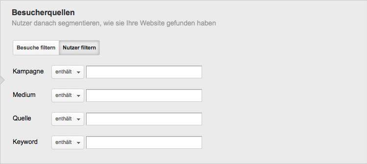 Die neue Option der Besucherquellen Segementierung nach Nutzern oder Besuchen