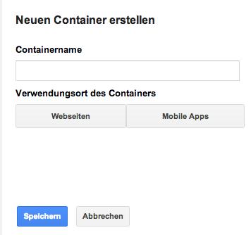 Frage nach der Art des Containers beim Anlegen im Google Tag Manager