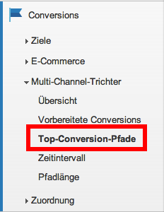 Die Conversion Pfade im Google Analytics Menü