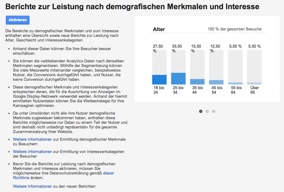 Aktivierung der neuen Demographischen Reports in Google Analytics