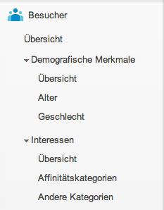 Die Anordnung der Reports innerhalb der Google Analytics Menüstruktur