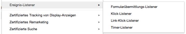 Die Auswahl der neuen Google Tag Manager Event-Listener