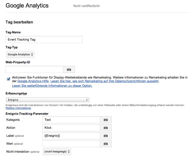 Die Einrichtung des Tags für die Datenübergabe an Google Analytics