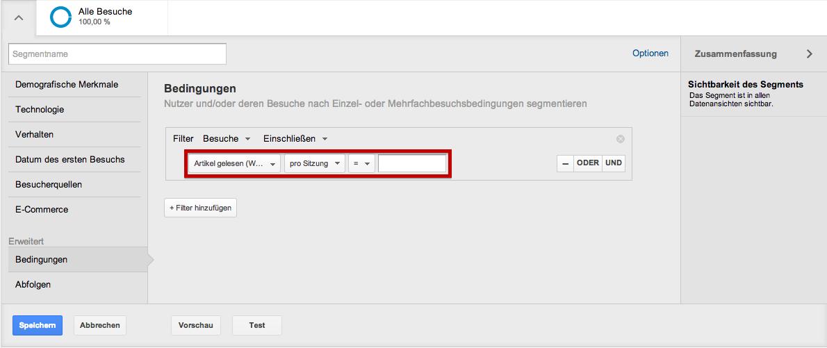 Beispiel einer Mikro Conversion innerhalb der Google Analytics Segmente