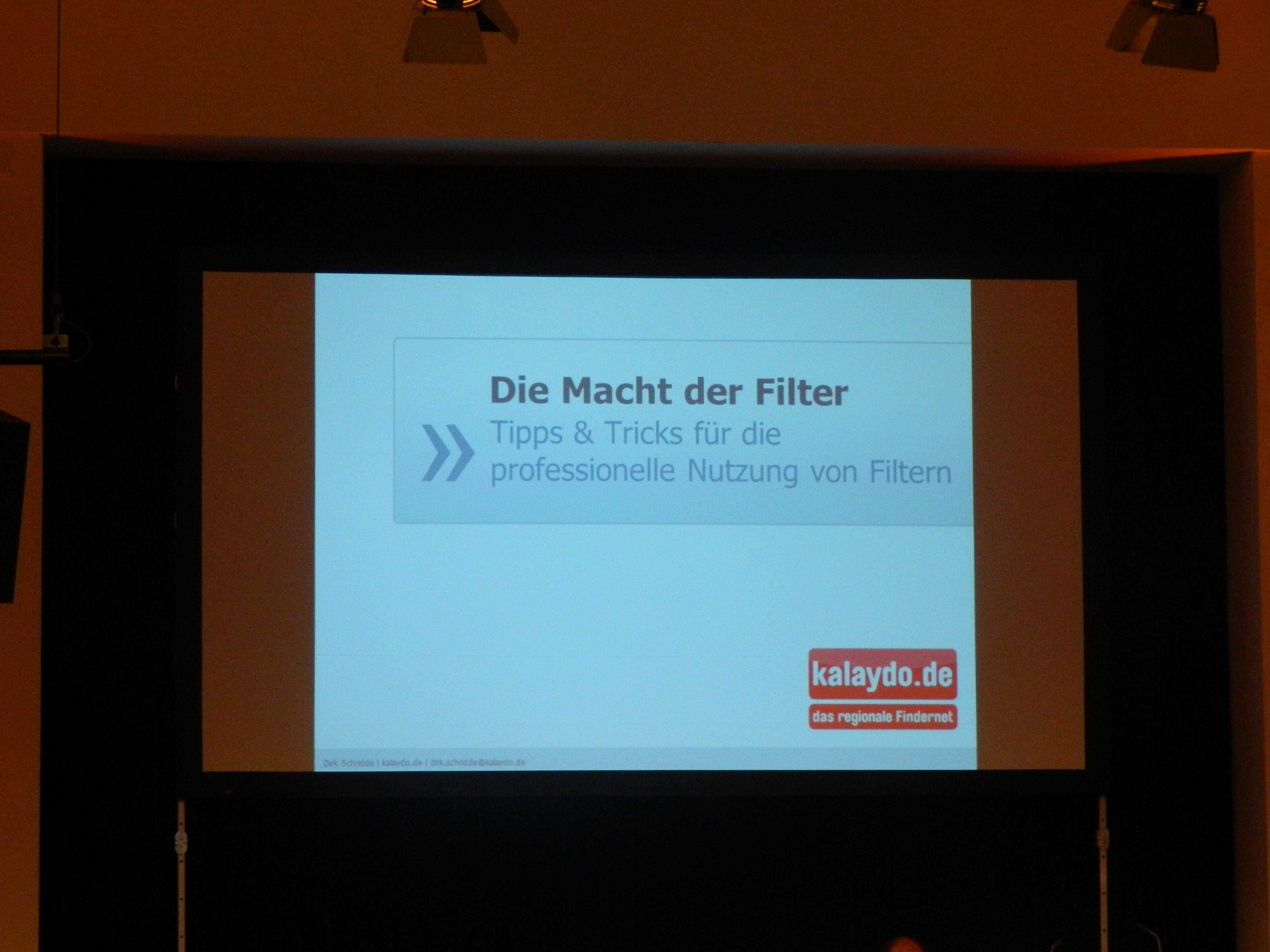 Cover Folie des Vortrages von Dirk Schridde zum Thema Filter